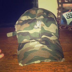 02e5fe02 Camo hat with praying hands with a jesus piece